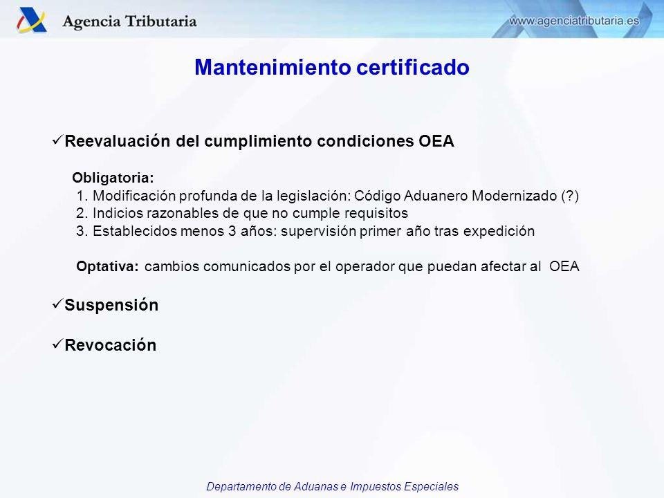 Departamento de Aduanas e Impuestos Especiales Suspensión Certificado TIPOS: 1.Total y parcial (solo certificado full) 2.Inmediata o no 3.De oficio o a instancia de parte (14 duovicies: 14 u) – diferencias: DE OFICIO POR LA ADUANA Por incumplimientos o por procesos penales Si se revoca el certificado NO puede solicitarse OEA en tres años.