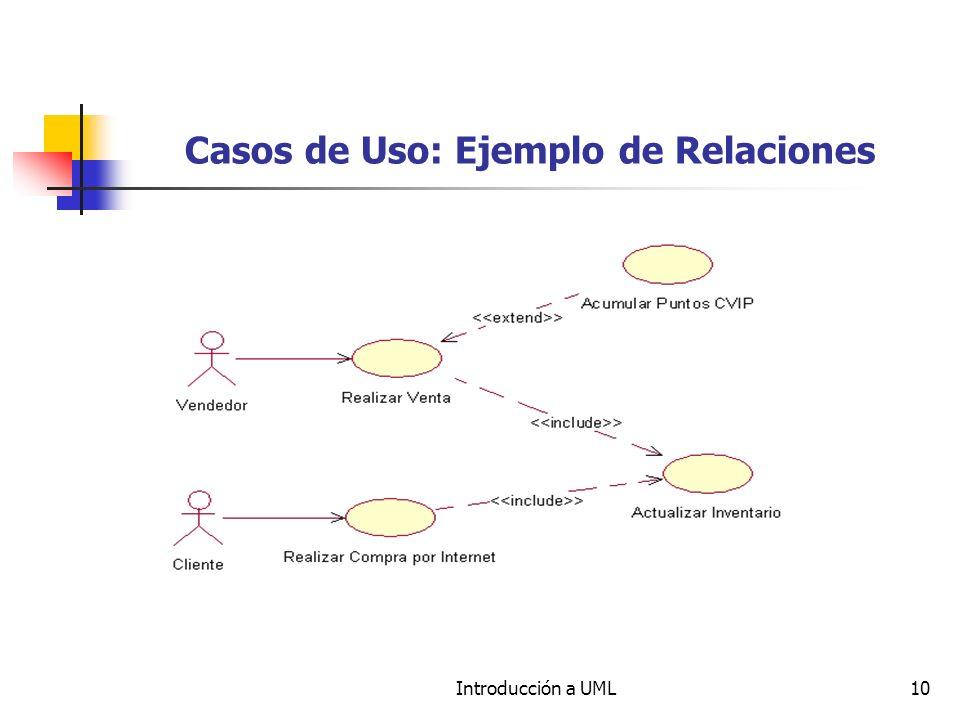 Introducción a UML10 Casos de Uso: Ejemplo de Relaciones
