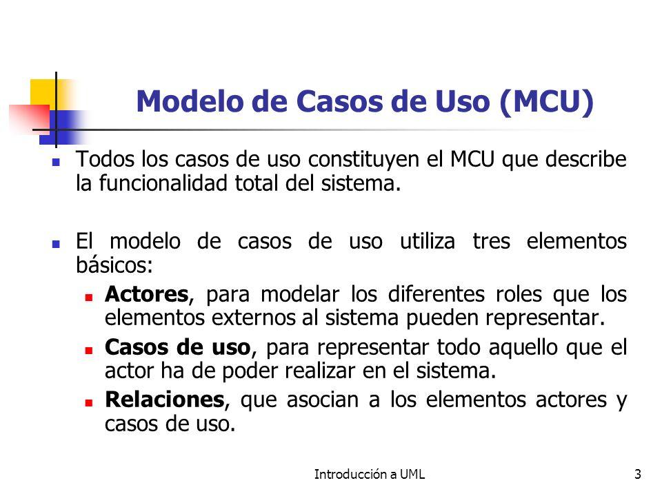 Introducción a UML3 Modelo de Casos de Uso (MCU) Todos los casos de uso constituyen el MCU que describe la funcionalidad total del sistema.