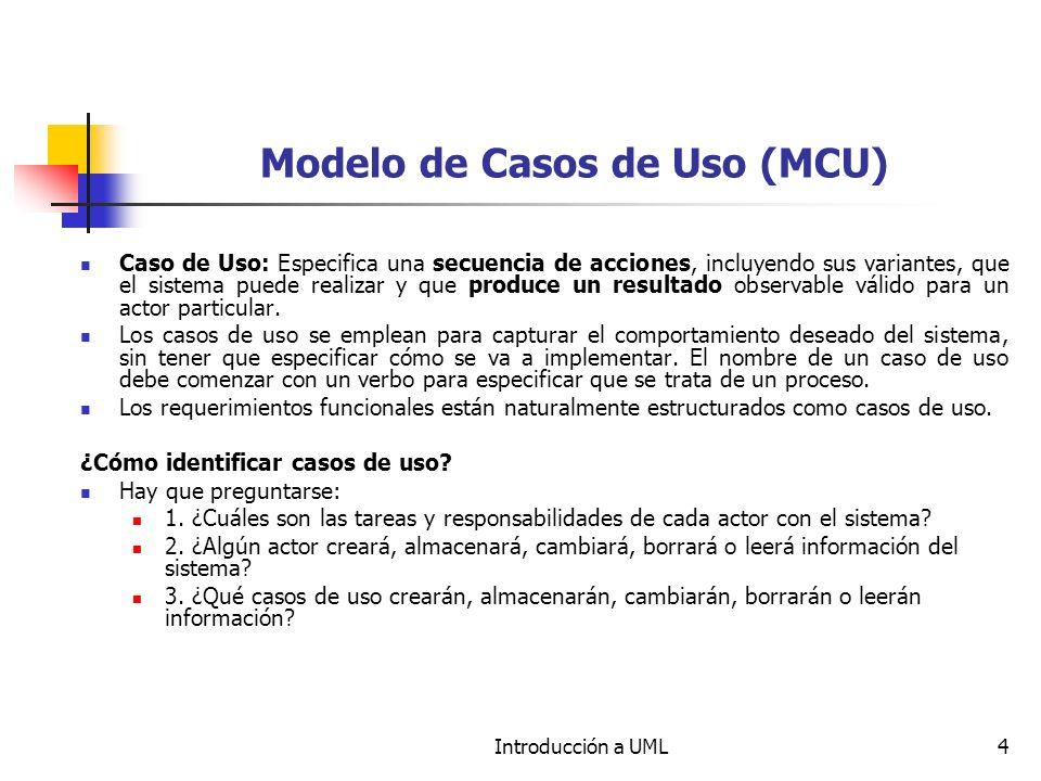 Introducción a UML4 Modelo de Casos de Uso (MCU) Caso de Uso: Especifica una secuencia de acciones, incluyendo sus variantes, que el sistema puede rea