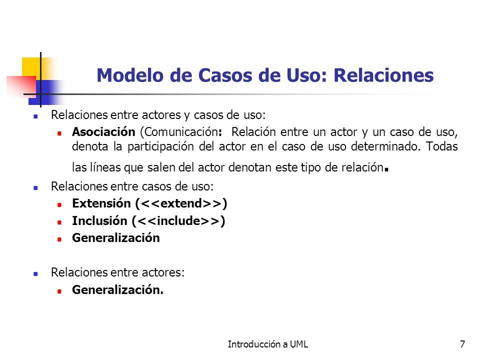 Introducción a UML7 Modelo de Casos de Uso: Relaciones Relaciones entre actores y casos de uso: Asociación (Comunicación: Relación entre un actor y un