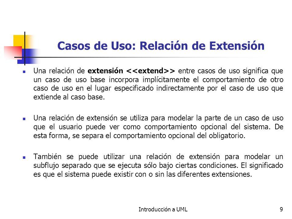 Introducción a UML9 Casos de Uso: Relación de Extensión Una relación de extensión > entre casos de uso significa que un caso de uso base incorpora implícitamente el comportamiento de otro caso de uso en el lugar especificado indirectamente por el caso de uso que extiende al caso base.