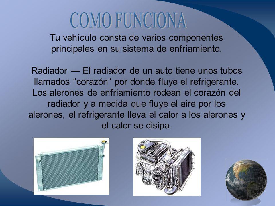 Tu vehículo consta de varios componentes principales en su sistema de enfriamiento. Radiador El radiador de un auto tiene unos tubos llamados corazón