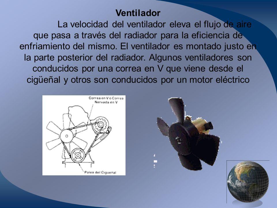 Ventilador La velocidad del ventilador eleva el flujo de aire que pasa a través del radiador para la eficiencia de enfriamiento del mismo. El ventilad