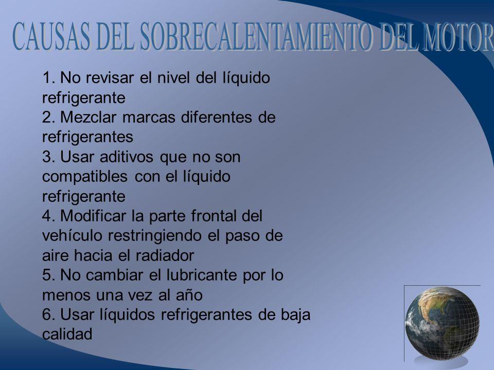 1. No revisar el nivel del líquido refrigerante 2. Mezclar marcas diferentes de refrigerantes 3. Usar aditivos que no son compatibles con el líquido r