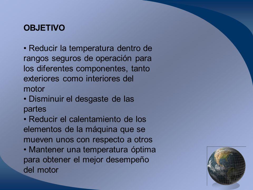 OBJETIVO Reducir la temperatura dentro de rangos seguros de operación para los diferentes componentes, tanto exteriores como interiores del motor Dism