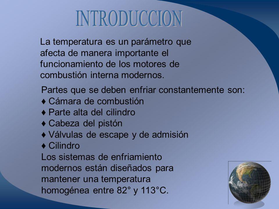 La temperatura es un parámetro que afecta de manera importante el funcionamiento de los motores de combustión interna modernos. Partes que se deben en