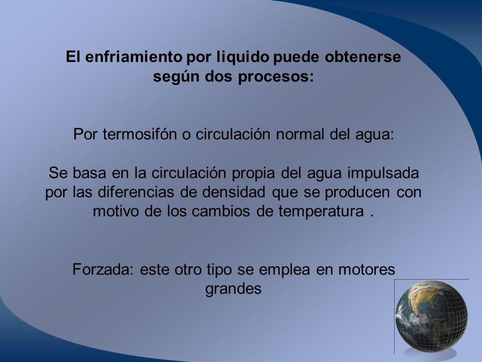 El enfriamiento por liquido puede obtenerse según dos procesos: Por termosifón o circulación normal del agua: Se basa en la circulación propia del agu