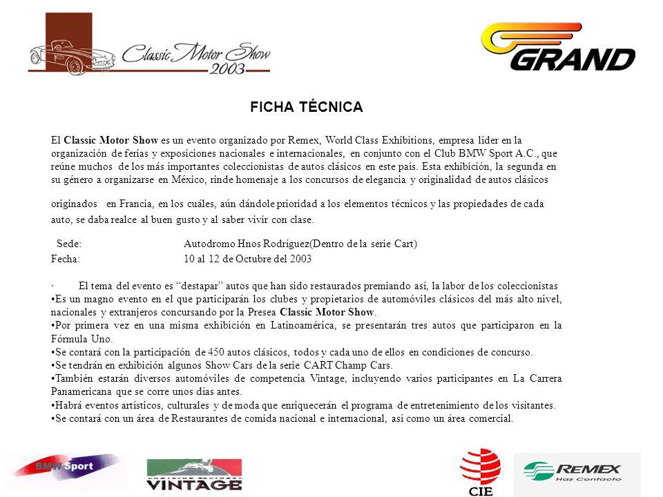 FICHA TÉCNICA El Classic Motor Show es un evento organizado por Remex, World Class Exhibitions, empresa líder en la organización de ferias y exposiciones nacionales e internacionales, en conjunto con el Club BMW Sport A.C., que reúne muchos de los más importantes coleccionistas de autos clásicos en este país.