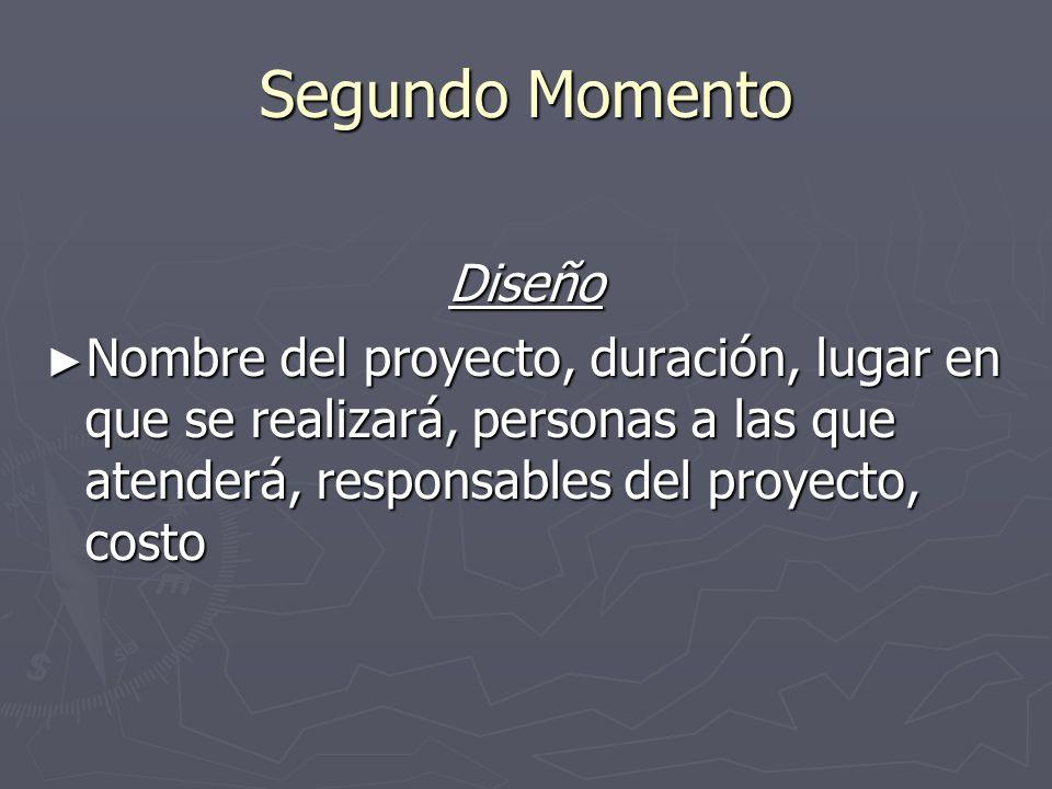 Segundo Momento Diseño Nombre del proyecto, duración, lugar en que se realizará, personas a las que atenderá, responsables del proyecto, costo Nombre