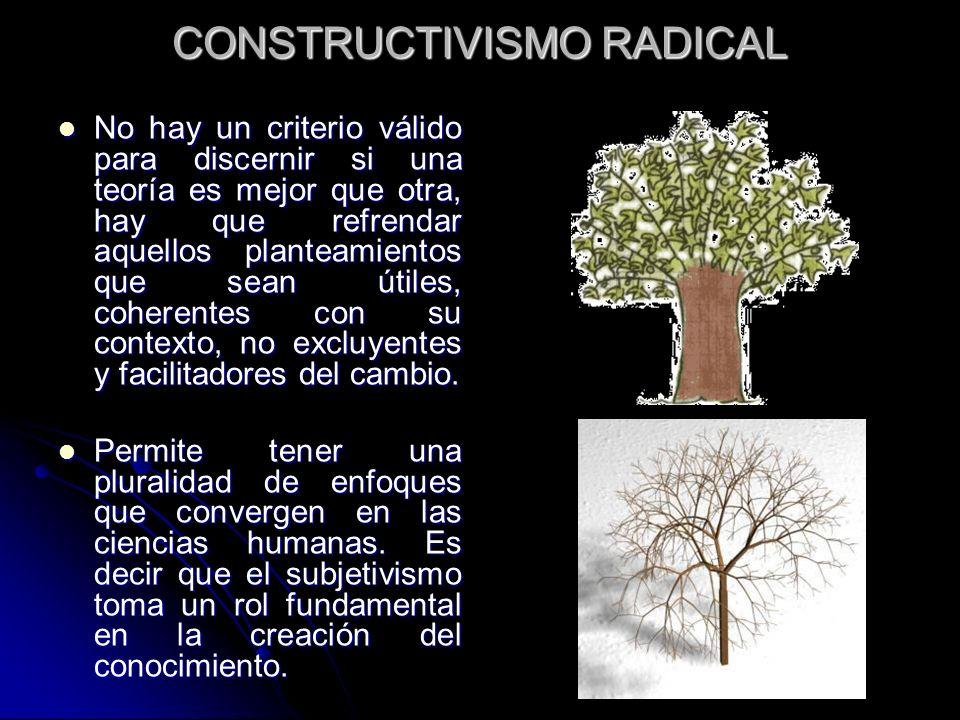 CONSTRUCTIVISMO RADICAL No hay un criterio válido para discernir si una teoría es mejor que otra, hay que refrendar aquellos planteamientos que sean ú