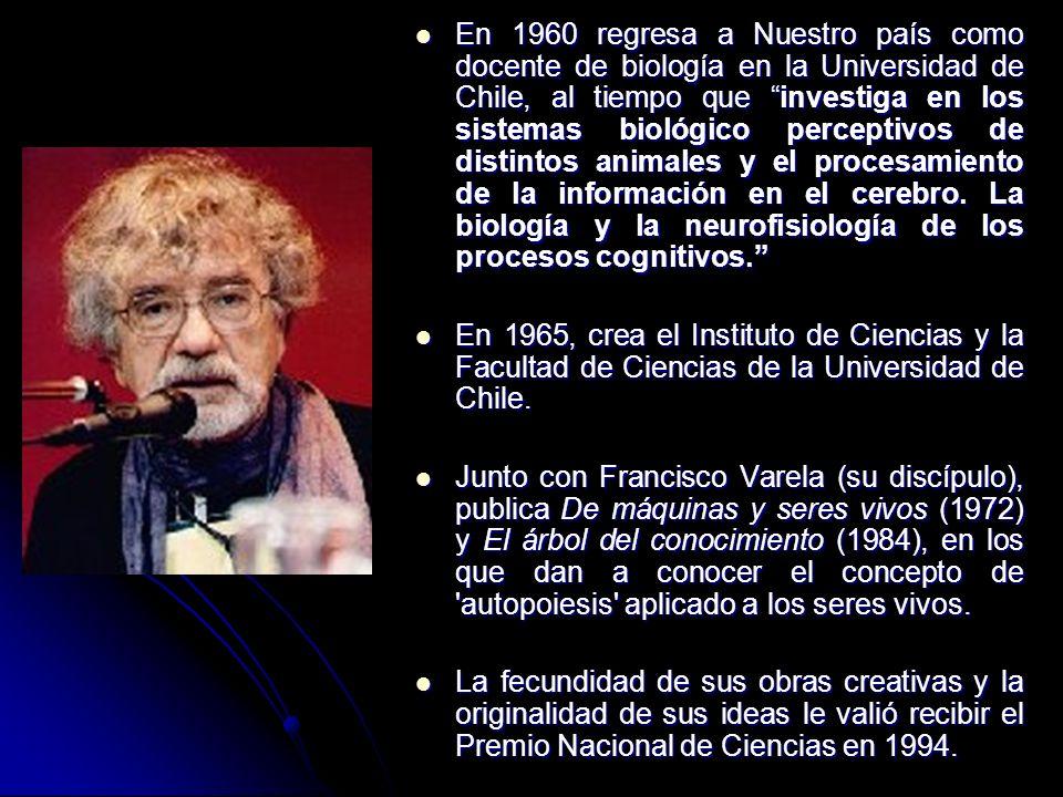 En 1960 regresa a Nuestro país como docente de biología en la Universidad de Chile, al tiempo que investiga en los sistemas biológico perceptivos de d