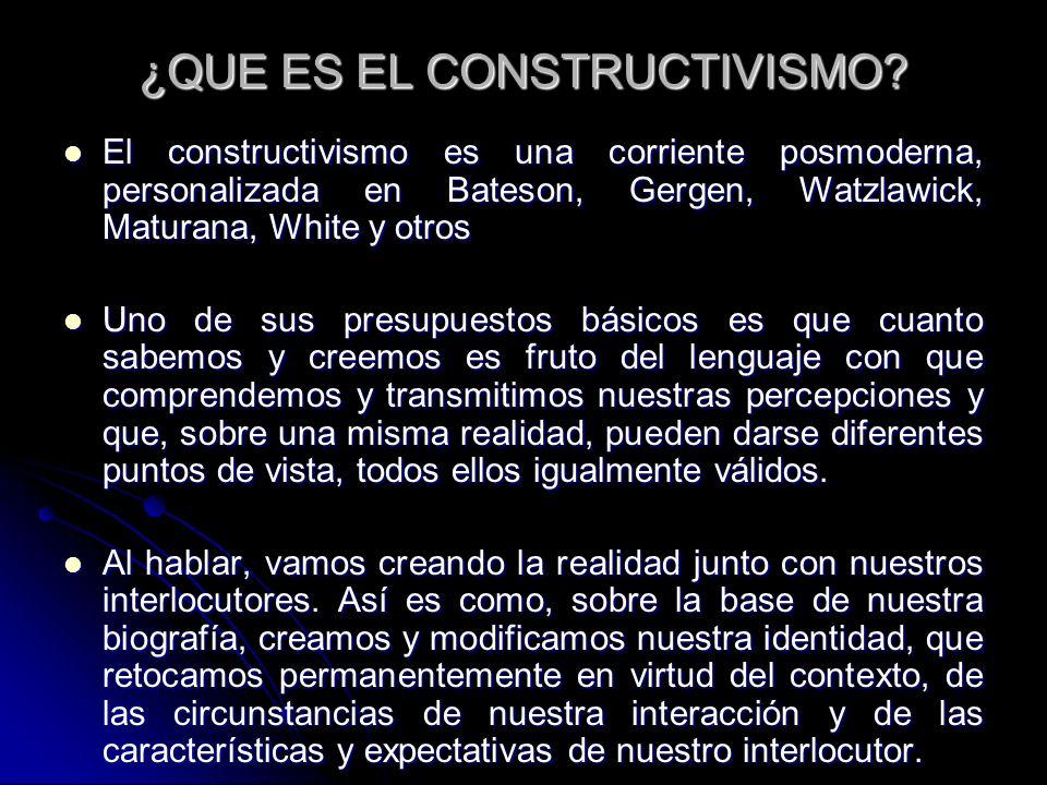 ¿QUE ES EL CONSTRUCTIVISMO? El constructivismo es una corriente posmoderna, personalizada en Bateson, Gergen, Watzlawick, Maturana, White y otros El c