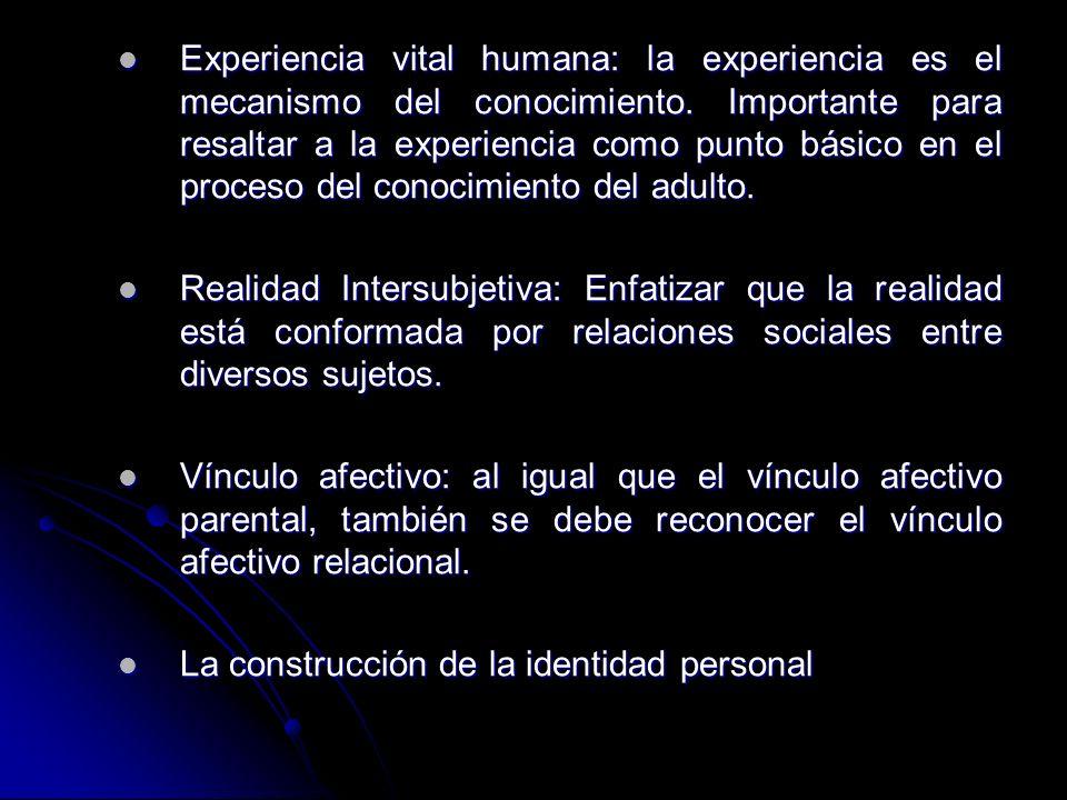 Experiencia vital humana: la experiencia es el mecanismo del conocimiento. Importante para resaltar a la experiencia como punto básico en el proceso d
