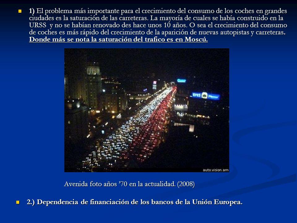 1) El problema más importante para el crecimiento del consumo de los coches en grandes ciudades es la saturación de las carreteras. La mayoría de cual