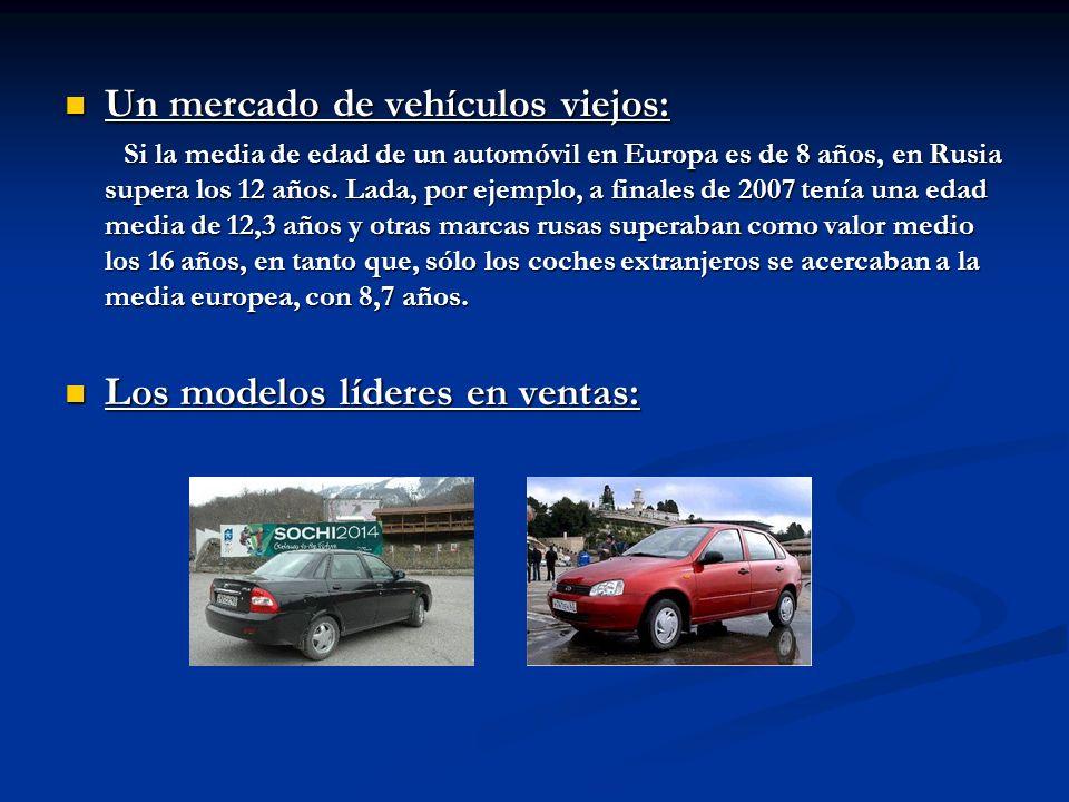 Un mercado de vehículos viejos: Un mercado de vehículos viejos: Si la media de edad de un automóvil en Europa es de 8 años, en Rusia supera los 12 año