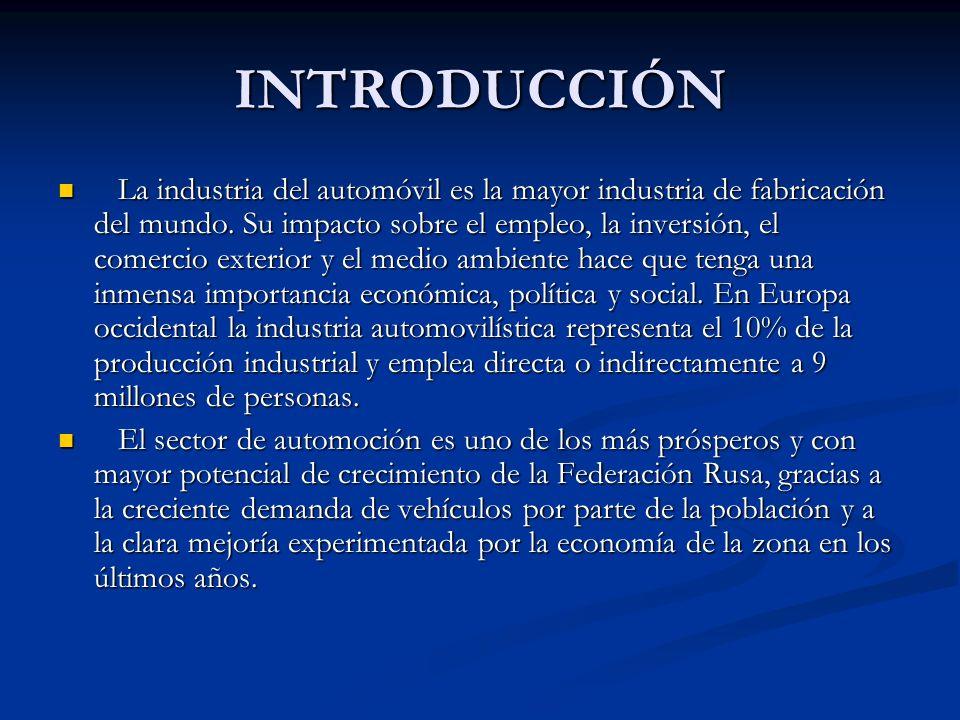 INTRODUCCIÓN La industria del automóvil es la mayor industria de fabricación del mundo. Su impacto sobre el empleo, la inversión, el comercio exterior