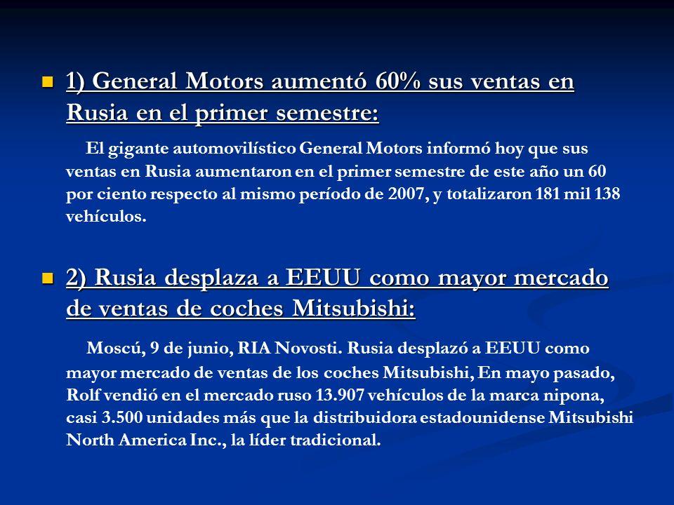 1) General Motors aumentó 60% sus ventas en Rusia en el primer semestre: 1) General Motors aumentó 60% sus ventas en Rusia en el primer semestre: El g