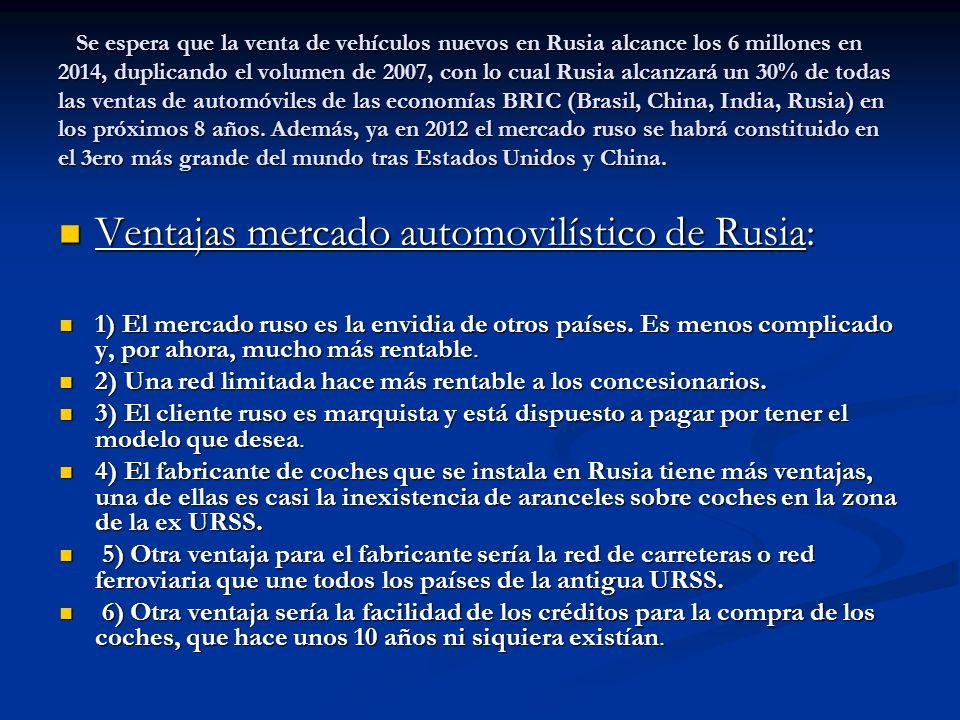 Ventajas mercado automovilístico de Rusia: Ventajas mercado automovilístico de Rusia: 1) El mercado ruso es la envidia de otros países. Es menos compl