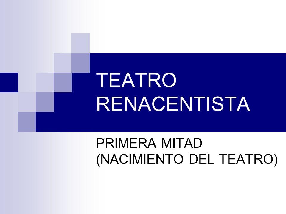 TEATRO RENACENTISTA PRIMERA MITAD (NACIMIENTO DEL TEATRO)