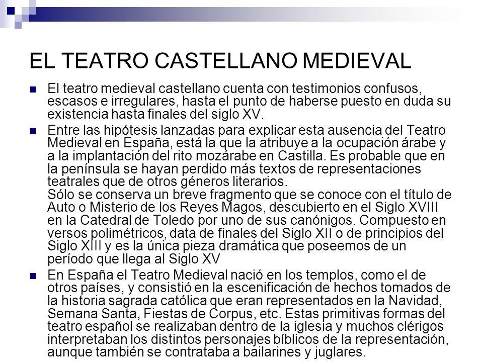 EL TEATRO CASTELLANO MEDIEVAL El teatro medieval castellano cuenta con testimonios confusos, escasos e irregulares, hasta el punto de haberse puesto en duda su existencia hasta finales del siglo XV.
