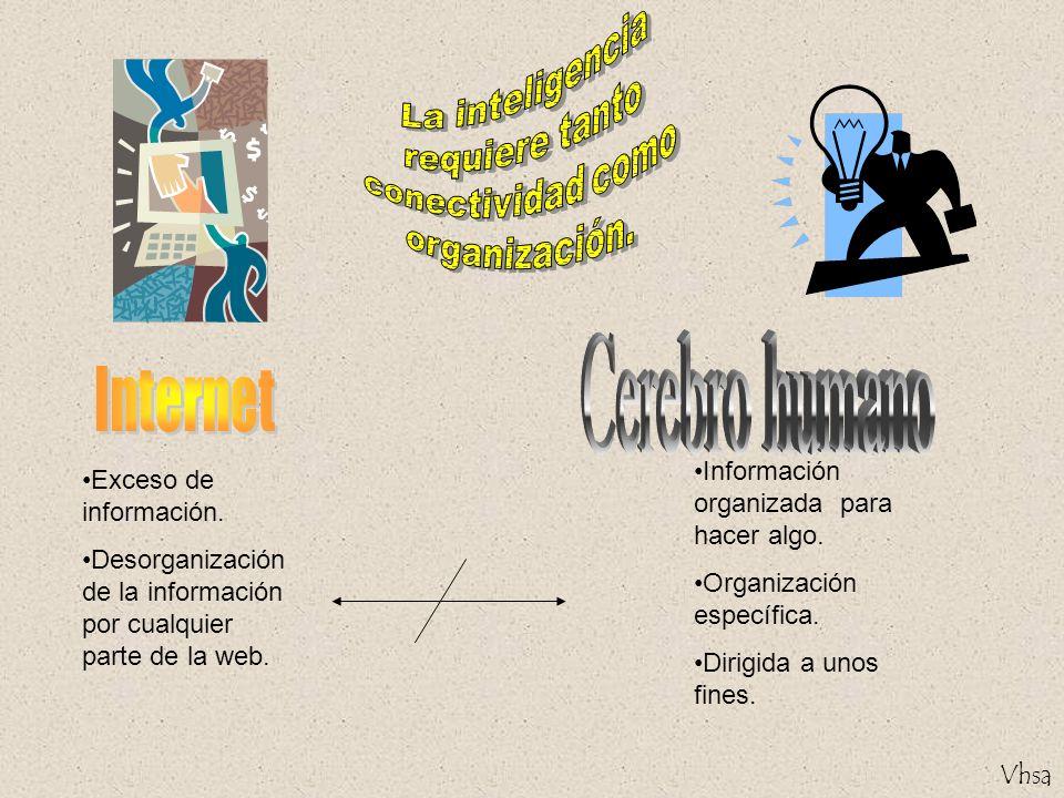 Exceso de información. Desorganización de la información por cualquier parte de la web. Información organizada para hacer algo. Organización específic
