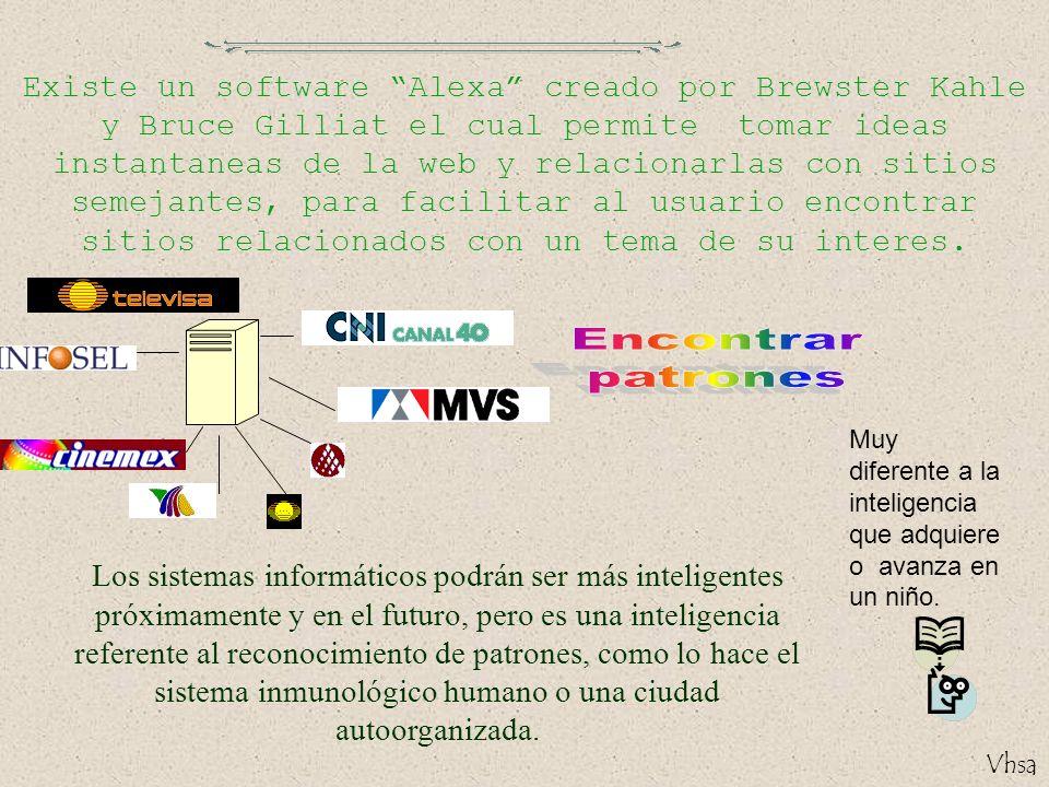 Vhsa Existe un software Alexa creado por Brewster Kahle y Bruce Gilliat el cual permite tomar ideas instantaneas de la web y relacionarlas con sitios