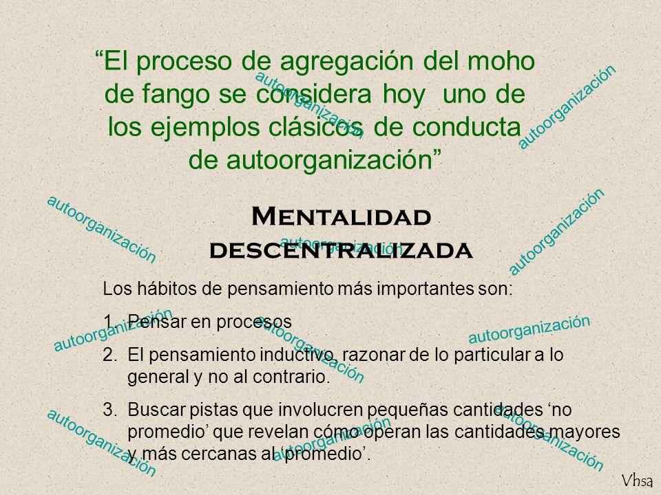 Vhsa autoorganización El proceso de agregación del moho de fango se considera hoy uno de los ejemplos clásicos de conducta de autoorganización autoorg
