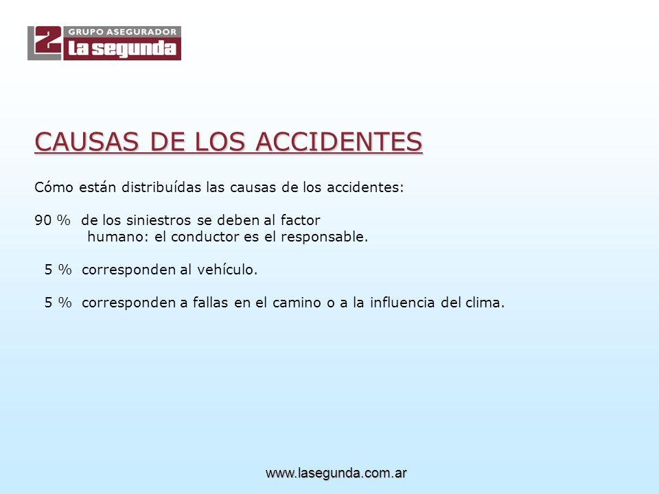Cómo están distribuídas las causas de los accidentes: 90 % de los siniestros se deben al factor humano: el conductor es el responsable.