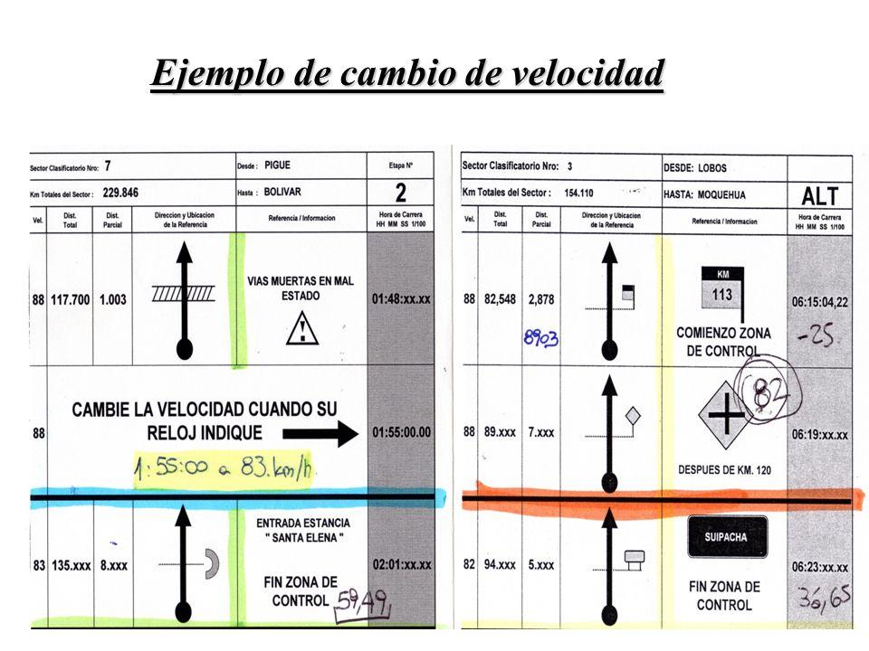 Si hay cambio de velocidad Con la prueba en marcha (a 88 km/h, por ejemplo) ingresar la próxima velocidad.