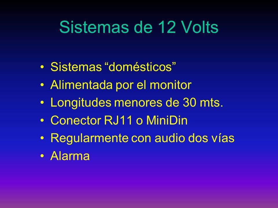 Sistemas de 12 Volts Sistemas domésticos Alimentada por el monitor Longitudes menores de 30 mts. Conector RJ11 o MiniDin Regularmente con audio dos ví