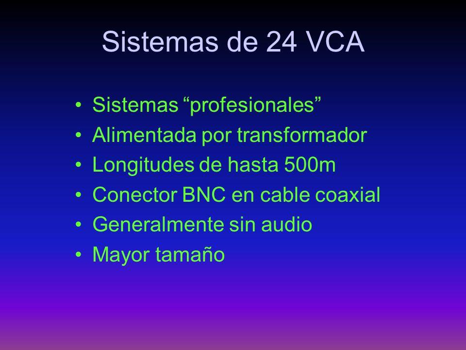 Sistemas de 24 VCA Sistemas profesionales Alimentada por transformador Longitudes de hasta 500m Conector BNC en cable coaxial Generalmente sin audio M