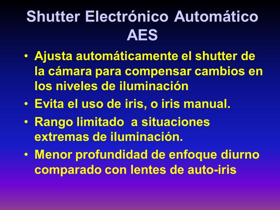 Shutter Electrónico Automático AES Ajusta automáticamente el shutter de la cámara para compensar cambios en los niveles de iluminación Evita el uso de