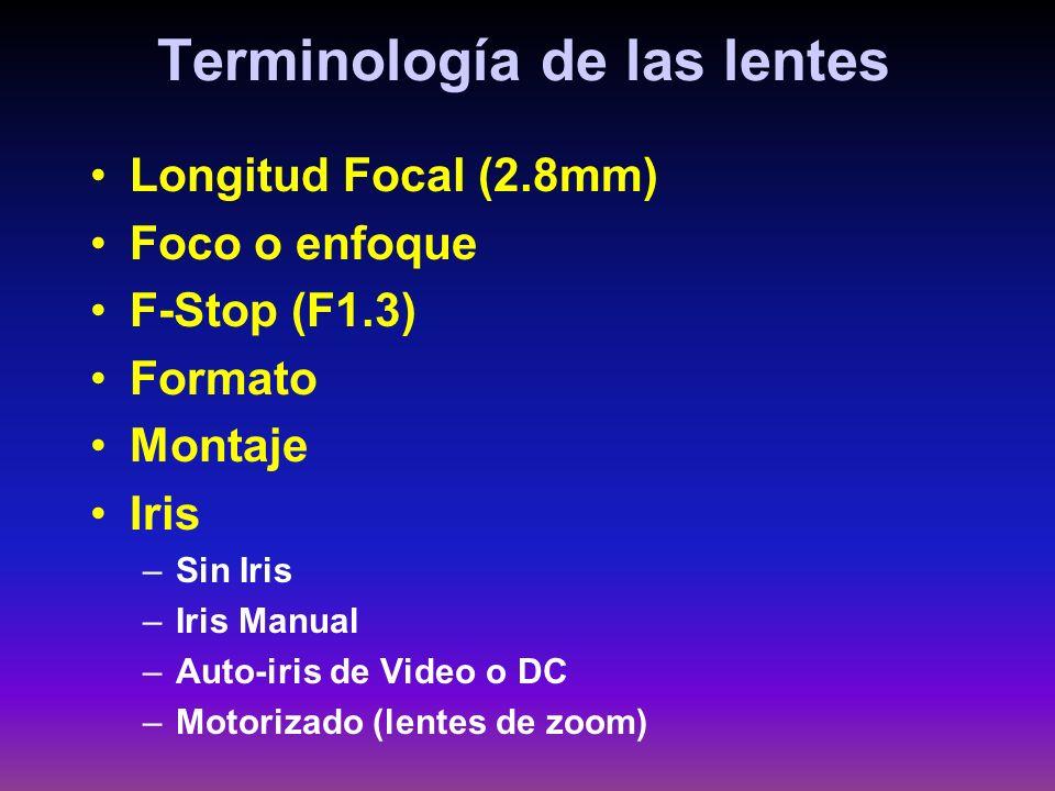 Terminología de las lentes Longitud Focal (2.8mm) Foco o enfoque F-Stop (F1.3) Formato Montaje Iris –Sin Iris –Iris Manual –Auto-iris de Video o DC –M