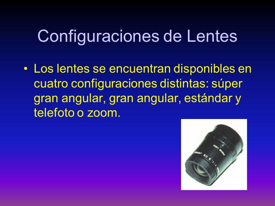Configuraciones de Lentes Los lentes se encuentran disponibles en cuatro configuraciones distintas: súper gran angular, gran angular, estándar y telef