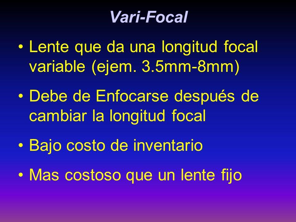 Vari-Focal Lente que da una longitud focal variable (ejem. 3.5mm-8mm) Debe de Enfocarse después de cambiar la longitud focal Bajo costo de inventario