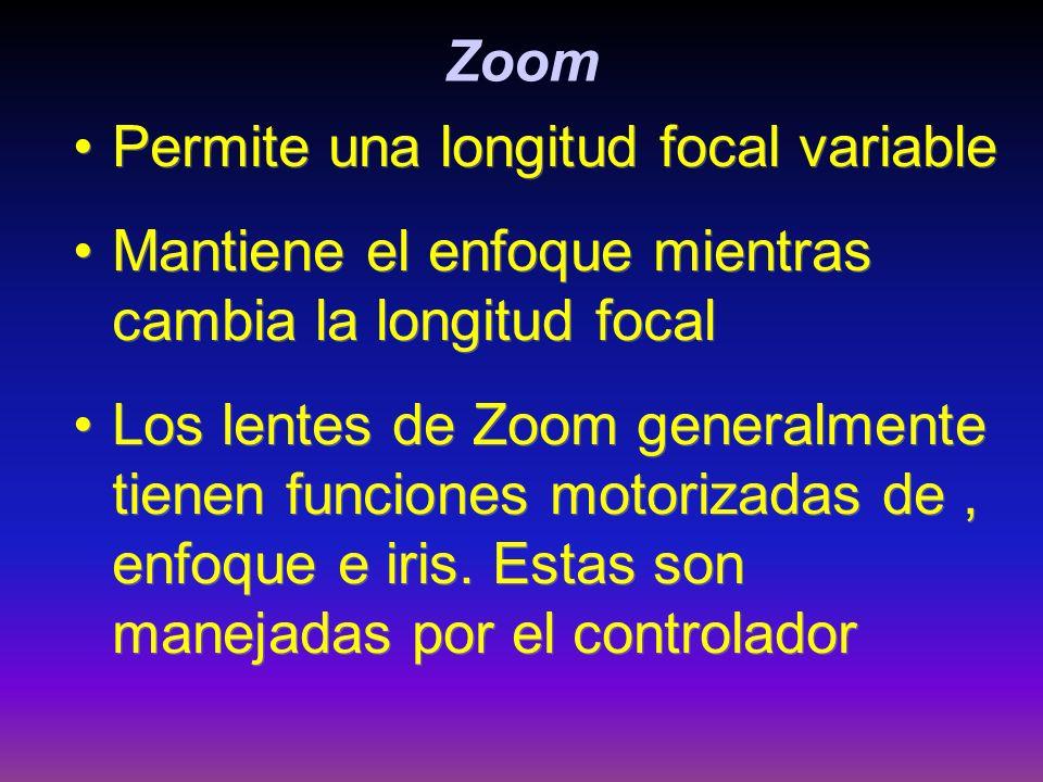 Zoom Permite una longitud focal variable Mantiene el enfoque mientras cambia la longitud focal Los lentes de Zoom generalmente tienen funciones motori