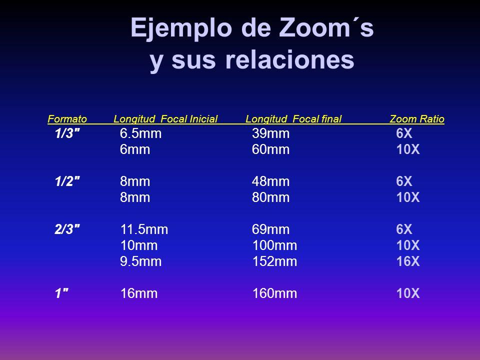 FormatoLongitud Focal InicialLongitud Focal finalZoom Ratio 1/3