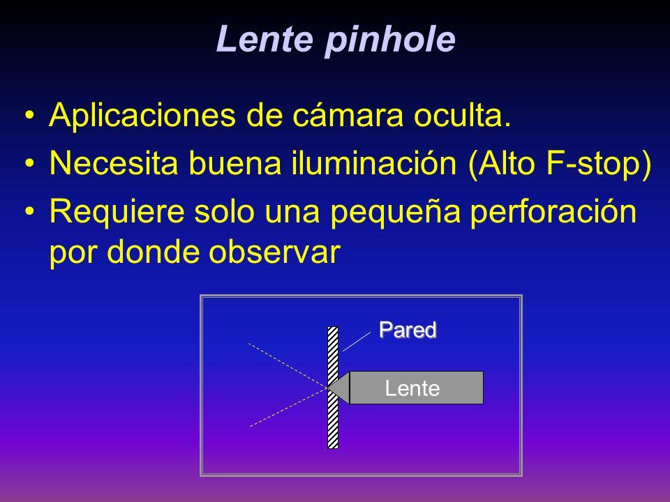 Lente pinhole Aplicaciones de cámara oculta. Necesita buena iluminación (Alto F-stop) Requiere solo una pequeña perforación por donde observar Lente P