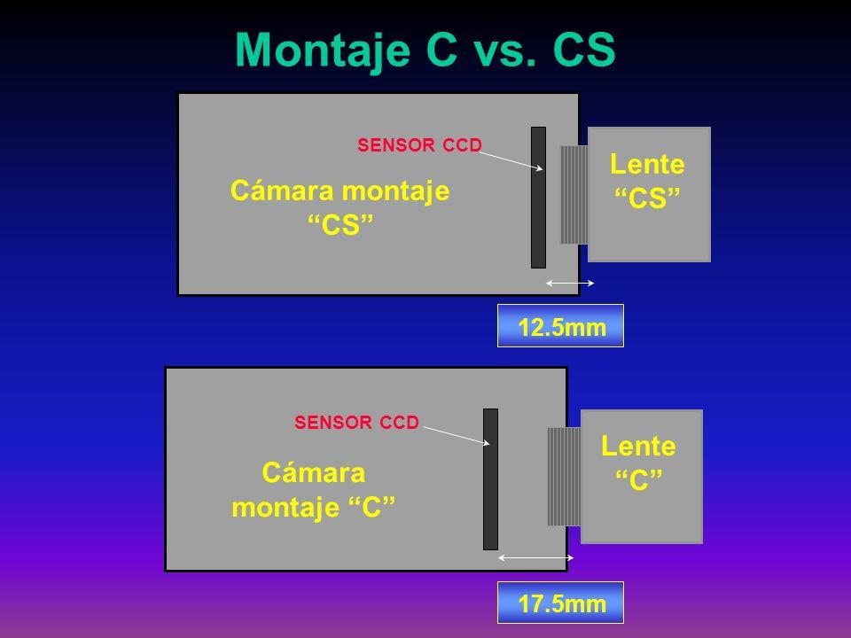 Cámara montaje CS SENSOR CCD Lente CS Montaje C vs. CS 12.5mm Cámara montaje C SENSOR CCD Lente C 17.5mm