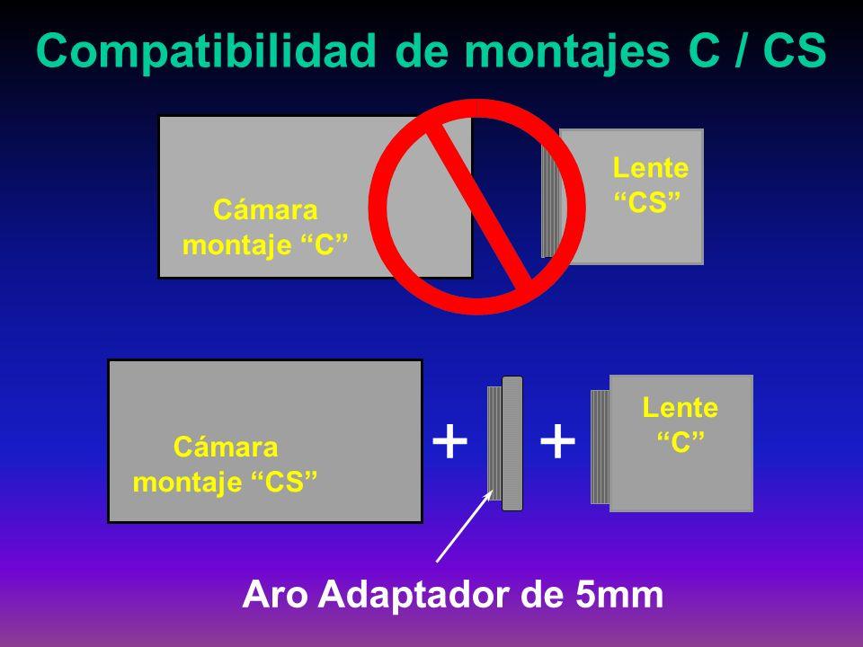 Cámara montaje C Lente CS Cámara montaje CS + Aro Adaptador de 5mm Lente C + Compatibilidad de montajes C / CS