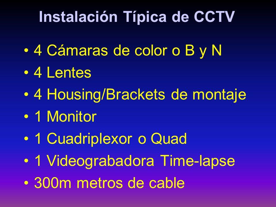 Instalación Típica de CCTV 4 Cámaras de color o B y N 4 Lentes 4 Housing/Brackets de montaje 1 Monitor 1 Cuadriplexor o Quad 1 Videograbadora Time-lap