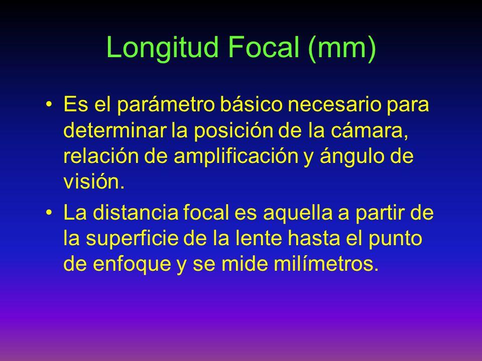 Longitud Focal (mm) Es el parámetro básico necesario para determinar la posición de la cámara, relación de amplificación y ángulo de visión. La distan