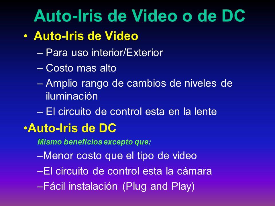 Auto-Iris de Video o de DC Auto-Iris de Video –Para uso interior/Exterior –Costo mas alto –Amplio rango de cambios de niveles de iluminación –El circu