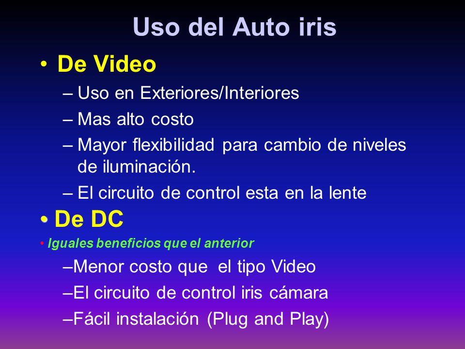 Uso del Auto iris De Video –Uso en Exteriores/Interiores –Mas alto costo –Mayor flexibilidad para cambio de niveles de iluminación. –El circuito de co