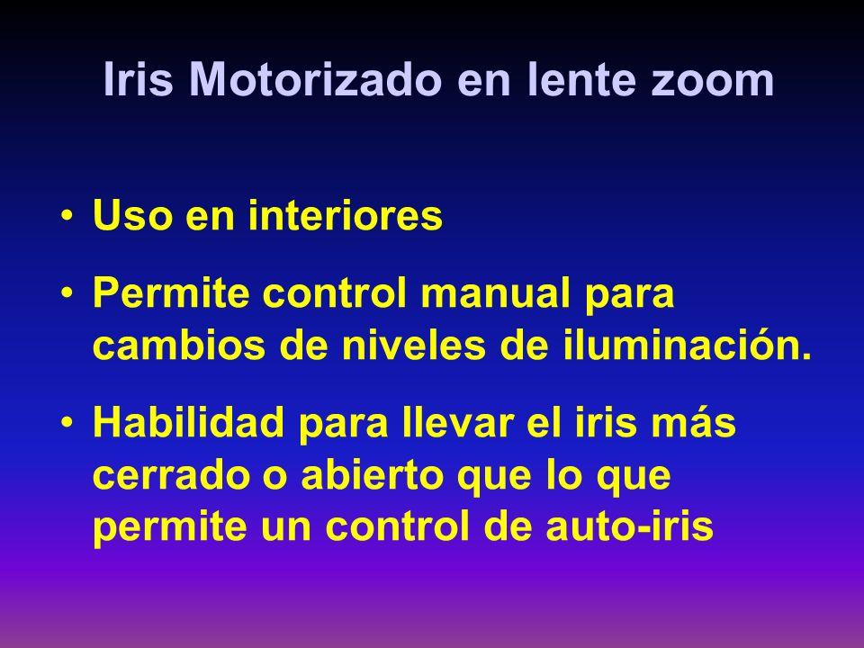 Iris Motorizado en lente zoom Uso en interiores Permite control manual para cambios de niveles de iluminación. Habilidad para llevar el iris más cerra
