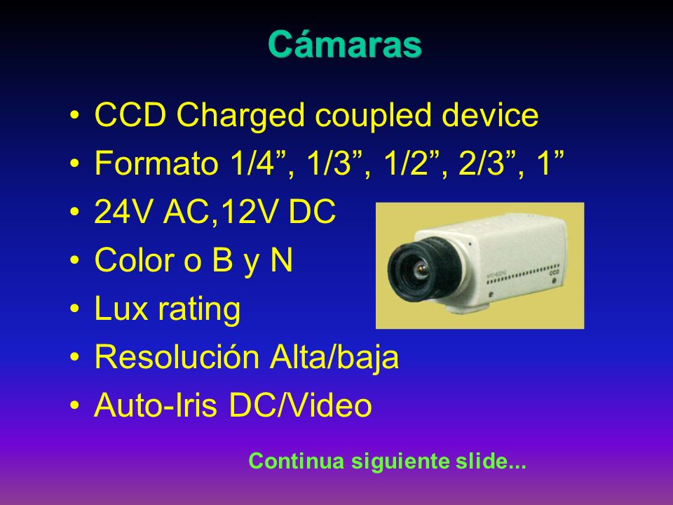 CCD Charged coupled device Formato 1/4, 1/3, 1/2, 2/3, 1 24V AC,12V DC Color o B y N Lux rating Resolución Alta/baja Auto-Iris DC/Video Cámaras Contin