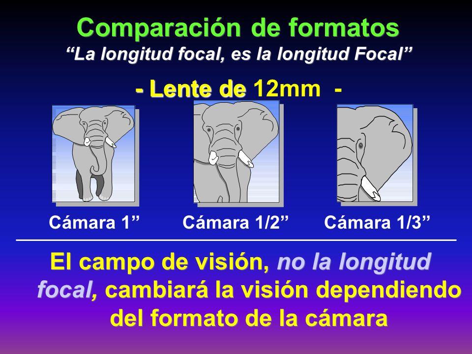 Comparación de formatos La longitud focal, es la longitud Focal El campo de visión, no la longitud focal, cambiará la visión dependiendo del formato d
