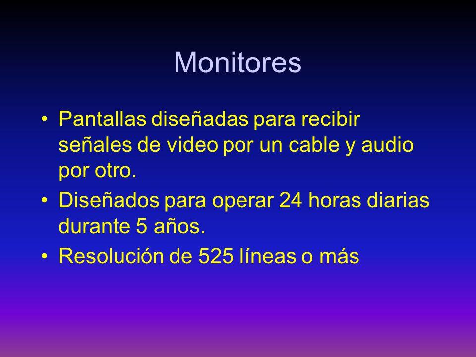 Monitores Pantallas diseñadas para recibir señales de video por un cable y audio por otro. Diseñados para operar 24 horas diarias durante 5 años. Reso