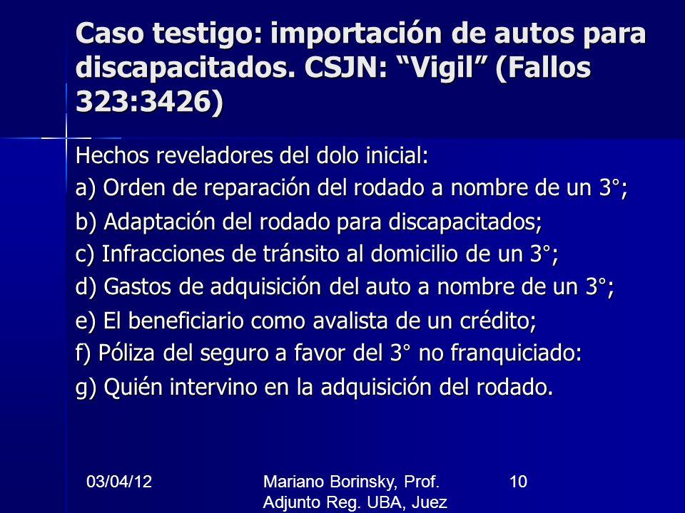 03/04/12Mariano Borinsky, Prof. Adjunto Reg. UBA, Juez CFCP 10 Caso testigo: importación de autos para discapacitados. CSJN: Vigil (Fallos 323:3426) H